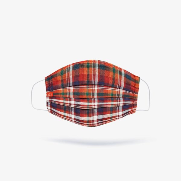 Madras, White & Red Tartan Check Mask (Set of 3)