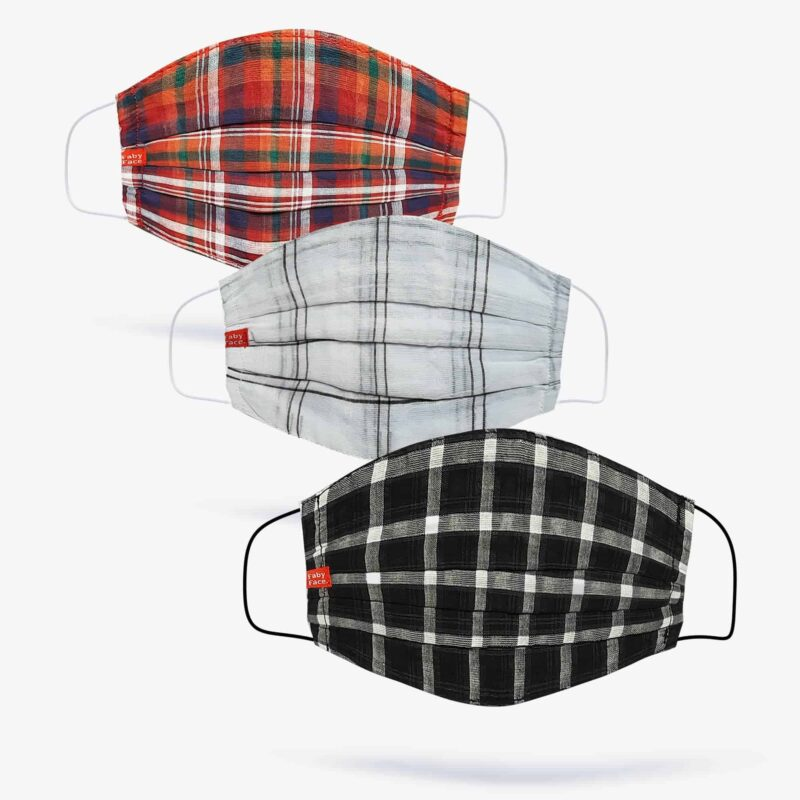FabyFace Reds, Whites & Black Double-Layered Check Face Mask (Set of 3)
