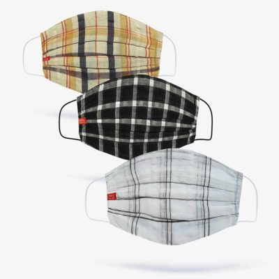 Beige, Black & White Check Fashion Masks (Set of 3)