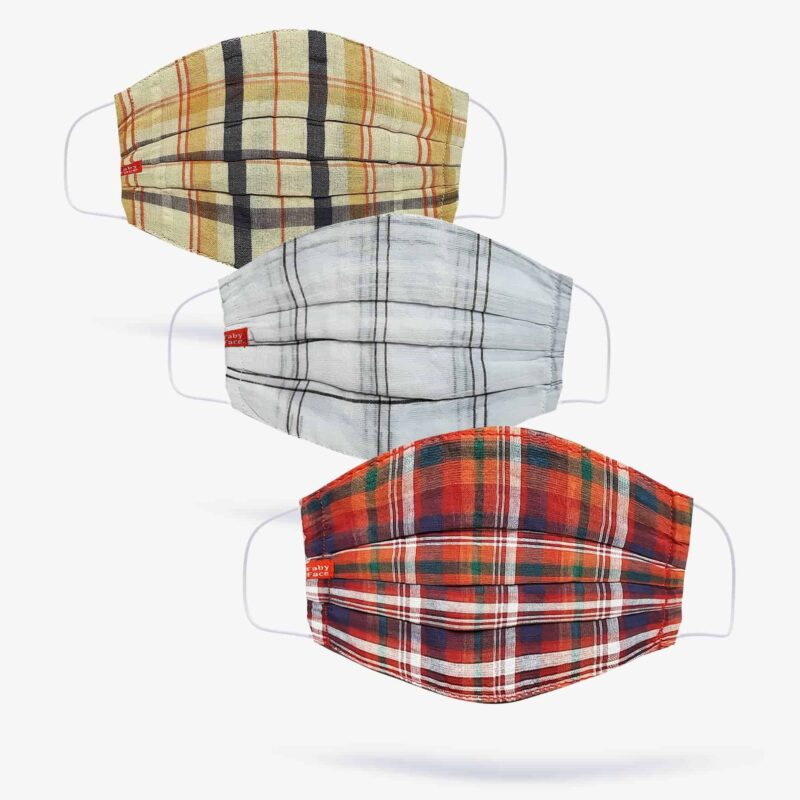 Beige, Black & Red Tartan Double-Layered Check Face Mask (Set of 3)