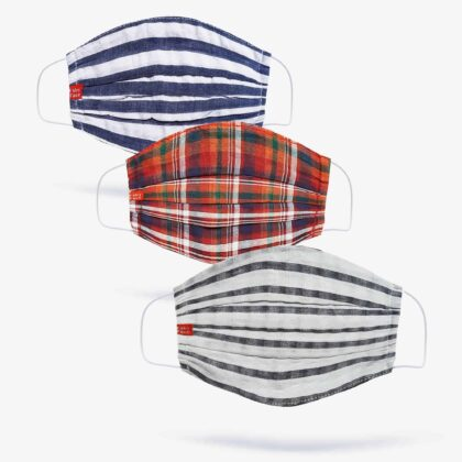 FabyFace Blues, Red & Whites Double-Layered Check Face Mask (Set of 3)