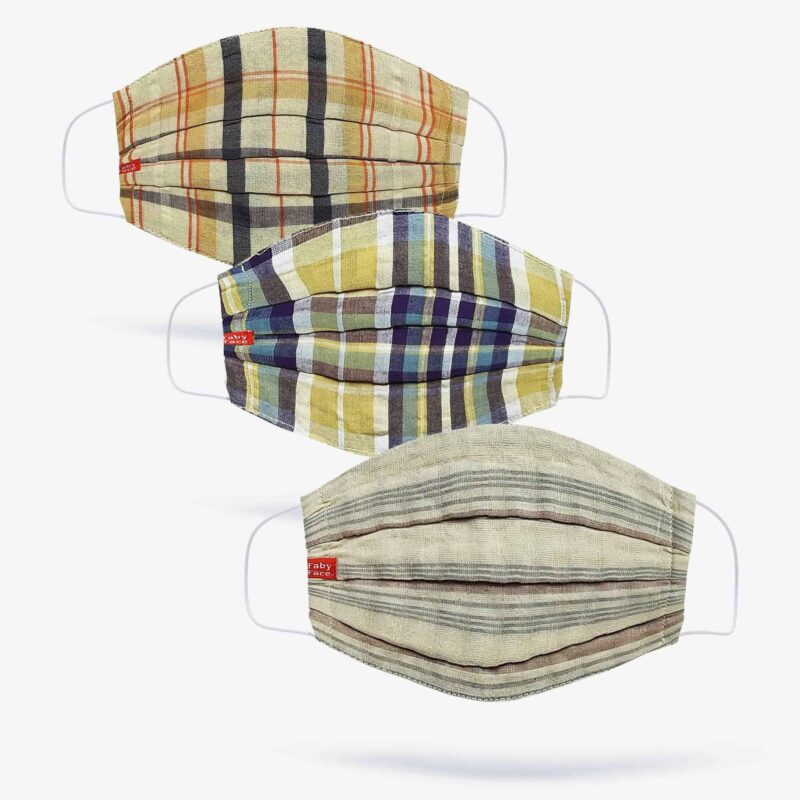 Tartan, Madras & Beige Double-Layered Check Face Mask (Set of 3) FabyFace