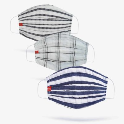 Blues, Whites & Blacks Check Fashion Masks (Set of 3)