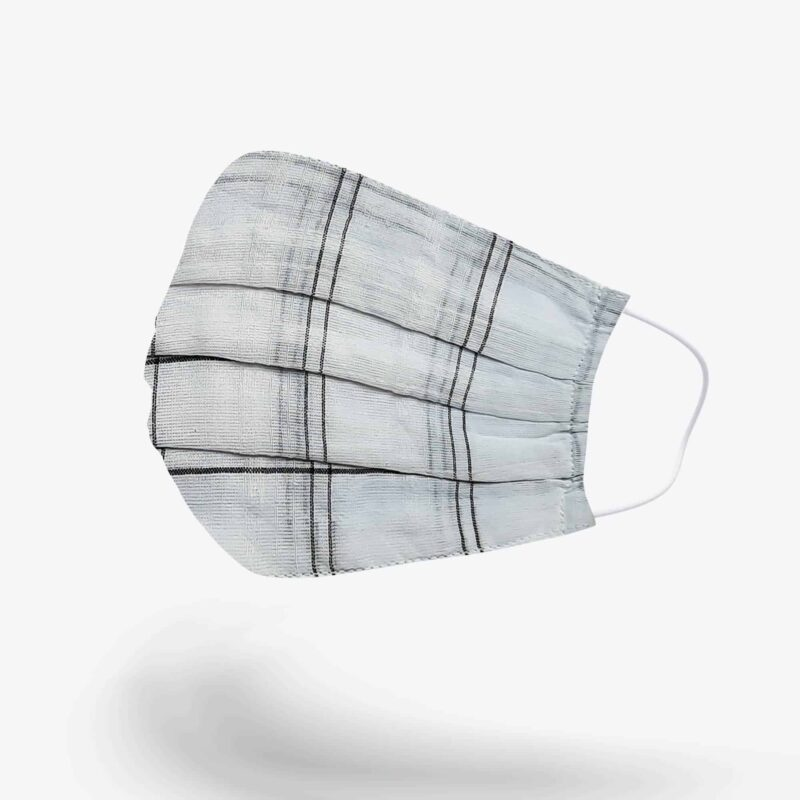 FabyFace Double-Layered Black Check on White Face Mask Side