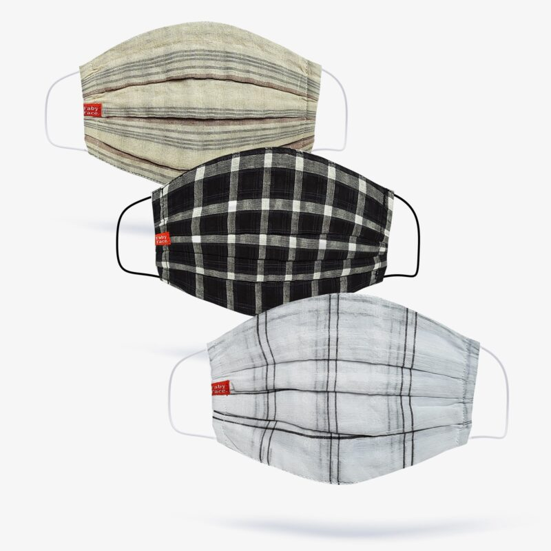 FabyFace Beige, Black & White Double-Layered Check Face Mask (Set of 3)