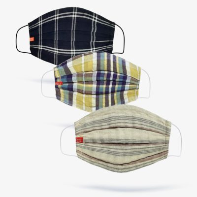 Navy, Madras, Beige Check Mask (Set of 3)