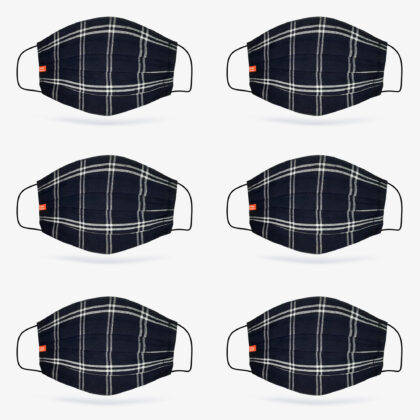 6 Pack | Check Fabric Face Mask in Deep Navy